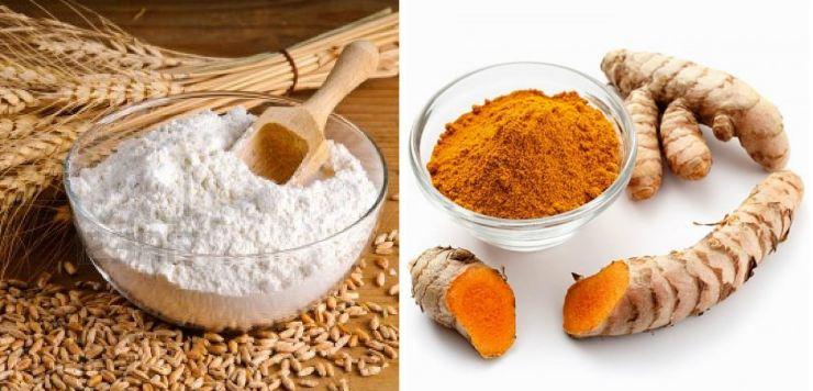 Mặt nạ bột nghệ và cám gạo
