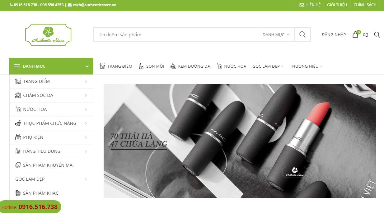 Website bán mỹ phẩm Authenticstore