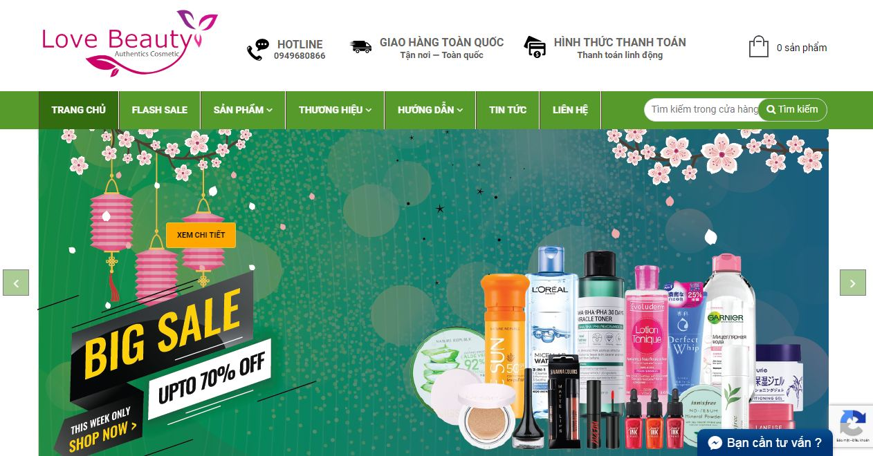 Website bán mỹ phẩm Love beauty