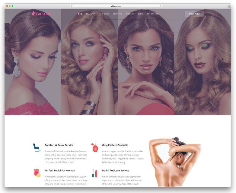 Parlour - mẫu website spa quyến rũ